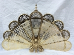 A beautiful French, ornate, antique  brass folding fan fire screen. - Click to Enlarge
