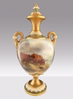 A  superb antique Royal Worcester vase painted with highland cattle signed H Stinton. - Click to Enlarge