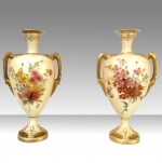 Pair Of Antique Royal Worcester Blush Ivory Vases  - Click to Enlarge
