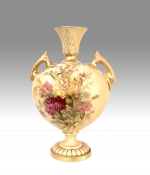 Beautiful Antique Royal Worcester Blush Ivory Vase. - Click to Enlarge