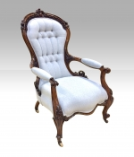 Fabulously carved antique walnut spoon back Cabriole leg Open Arm drawing room armchair  - Click to Enlarge