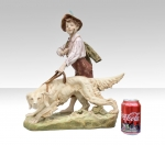 Stunning Royal Dux Figurine Of Boy and Dog  - Click to Enlarge