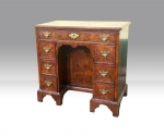 18th Century George I Figured Walnut Antique  Kneehole Desk  - Click to Enlarge