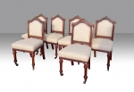 Set of Six Antique Mahogany Upholstered Dining Chairs. - Click to Enlarge