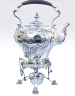 Magnificent Antique Solid Silver Spirit Kettle - Click to Enlarge