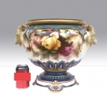 Large Antique Royal Worcester Jardiniere,Roses,AC Lewis - Click to Enlarge