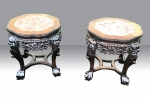 Pair of Antique Chinese Cherrywood Marble Top Pot Stands . - Click to Enlarge