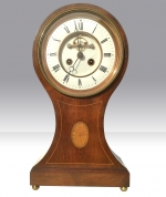 Large French 8 day mahogany balloon mantel clock - Click to Enlarge