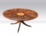 Large Antique Design Circular Inlaid Mahogany Veneered Dining, Breakfast,Hall Table. - Click to Enlarge