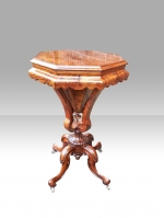 Antique Burr Walnut Trumpet Sewing Work Table - Click to Enlarge