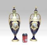 Pair of Tall Antique Coalport Porcelain Vases,  - Click to Enlarge