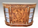 EXHIBITION Quality Figured and Burr Walnut Antique Credenza Cabinet Sideboard. - Click to Enlarge