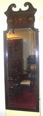 Quality Inlaid Mahogany Late Victorian Antique Wall Mirror - Click to Enlarge