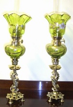 Pair of Art Nouveau Painted Green Glass Oil Peg Lamps - Click to Enlarge