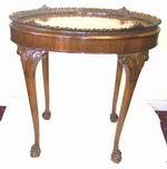 Quality Burr Walnut oval Table With Tray - Click to Enlarge
