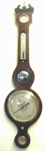 Good Georgian Inlaid Mahogany Mercury Banjo Barometer - Click to Enlarge