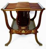 Beautiful Rare Mahogany Antique Canterbury Inlaid With Ivory & Bone - Click to Enlarge
