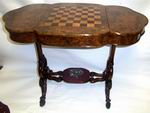 Unusual Victorian Burr Walnut Antique Games Table and Desk - Click to Enlarge