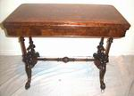 Beautiful  Victorian Inlaid Burr Walnut Turn Over Leaf Antique Games Table - Click to Enlarge