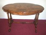 Super Victorian Inlaid Burr Walnut Shaped Top Antique Window Table - Click to Enlarge