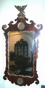 19th Century Mahogany and Gilt Antique Mirror Surmounted with Gilt Eagle - Click to Enlarge