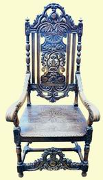 Large Carved Oak Chair - Click to Enlarge