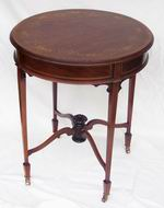 Quality Edwardian  Inlaid and Marquetry  Mahogany Circular Antique Table - Click to Enlarge