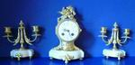 Lovely Little Antique  Marble And Ormolu Clock Garniture - Click to Enlarge