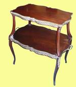 Fine Ormolu Mounted Mahogany Two Tiered Antique Etargere Table - Click to Enlarge