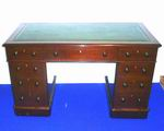 Superb Victorian Mahogany Pedestal Desk Of Small Porportions with Green Leather Tooled Hide - Click to Enlarge