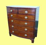 Superb Period Georgian Inlaid Mahogany Antique Bow Front Chest Of Drawers - Click to Enlarge