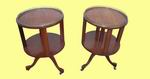 A Very Near Pair of Antique Satin Wood Revolving Tables/Bookcases with Brass Gallery - Click to Enlarge